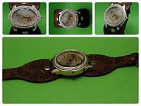 """Женские наручные часы с коричневым кожаным ремешком """"Золотая сирень"""""""
