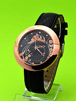 """Женские наручные часы на черном кожаном ремешке """"Полет в темноте"""""""