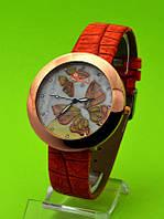 """Женские наручные часы на красном кожаном ремешке """"Зефирка"""""""