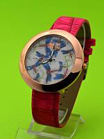 """Женские наручные часы на кожаном ремешке """"Голубые стрекозы"""""""