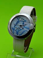 """Женские наручные часы на кожаном ремешке """"Голубой воздушный змей"""""""