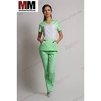 Медицинский костюм Сидней (белый/салатовый) №1001
