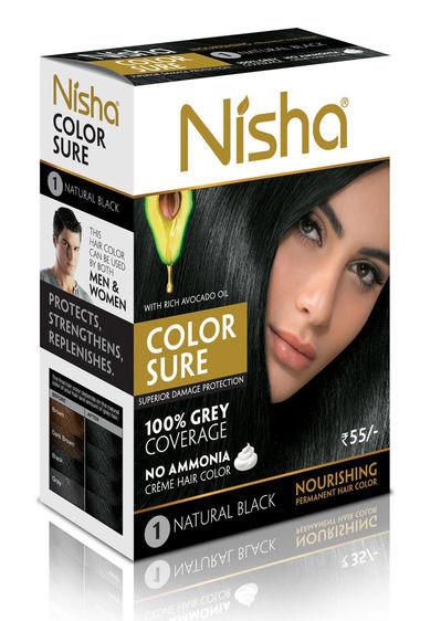 Безамиачная стойкая крем-краска для волос TM Nisha с маслом авокадо