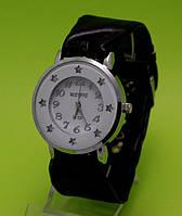 """Женские наручные часы на черном кожаном ремешке """"Утренняя звезда"""""""