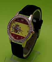 """Женские наручные часы на черном кожаном ремешке """"Геральдика"""""""
