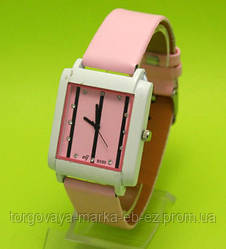 """Женские наручные часы с белым корпусом и розовым ремешком """"Черный бамбук"""""""