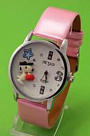 """Женские наручные часы с серебряным корпусом и розовым ремешком """"Снуппи"""""""