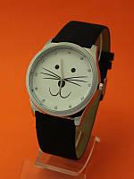 """Женские наручные часы с широким кожаным ремешком """"Милый котик"""""""