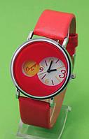 """Женские наручные часы с оранжевым кожаным ремешком """"Мандаринка"""""""