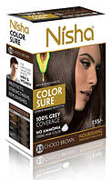 Безамиачная стойкая крем-краска для волос TM Nisha с маслом авокадо  Шоколадно-коричневая №3,5