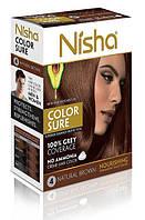 Безамиачная стойкая крем-краска для волос TM Nisha с маслом авокадо Коричневая №4