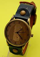 """Наручные часы в винтажном стиле на черном кожаном ремешке """"Тандем"""""""