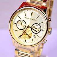 Женские часы Michael Kors Parker Gold-Tone Crystal Chrono