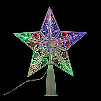 """Электрогирлянда верхушка на елку """"Звезда"""",10 светодиод,3м,вводный провод,крас+зел+желт+син"""