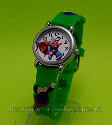 """Детские наручные часы с силиконовым ремешком """"Супермен"""", зеленые"""
