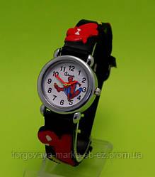 """Детские наручные часы с силиконовым ремешком """"Спайдермен"""", черные"""