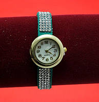 Женские наручные часы-браслет на ремешке со стразами, голубые