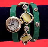 Женские наручные часы-браслет на ремешке со стразами и пряжкой, зеленые