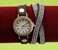 Женские наручные часы-браслет на ремешке со стразами, коричневые