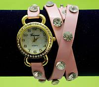 Женские наручные часы-браслет на ремешке со стразами, розовые
