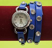 Женские наручные часы-браслет на ремешке со стразами, синие