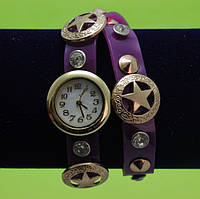 Женские наручные часы-браслет на ремешке со стразами, фиолетовые