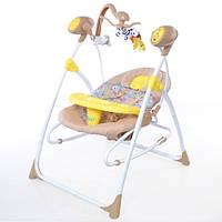 Колыбель- качели, кресло- качалка с пультом (желтый)