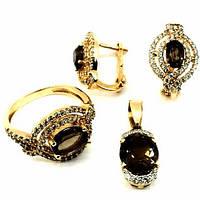 Золотое кольцо,серьги,кулон  с фианитом