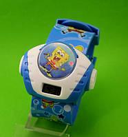 """Детские наручные часы """"Губка Боб с микрофоном"""", голубые"""