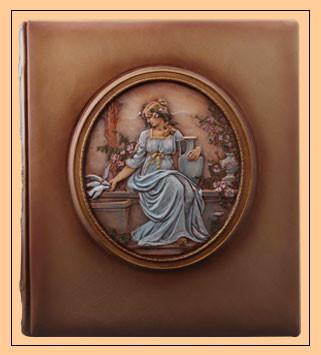 Фотоальбом кожаный ручная работа художественая роспись эксклюзивный подарок