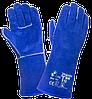 Краги для сварщика, спилковые сварочные перчатки DOLONI синие