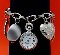 """Женские наручные часы-браслет """"Малахайд серебро"""", бусины Пандора"""