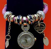 """Женские наручные часы-браслет """"Линен"""", стразы, бусины Пандора"""
