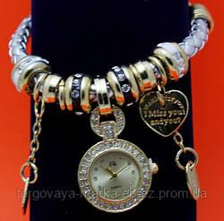 """Женские наручные часы-браслет """"Карлоу"""", стразы, бусины Пандора"""