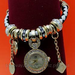 """Женские наручные часы-браслет """"Лисканнор"""", стразы, бусины Пандора"""