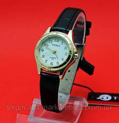 """Женские наручные часы с золотым корпусом и черным кожаным ремешком """"Агадес"""""""