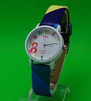 """Женские наручные часы с кожаным ремешком """"Брайль синие"""""""