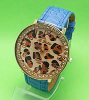 """Женские наручные часы с голубым кожаным ремешком """"Ниоба леопард"""""""
