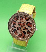 """Женские наручные часы с желтым кожаным ремешком """"Ниоба голд"""""""