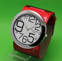 """Женские наручные часы с широким красным кожаным ремешком """"Таласса"""""""