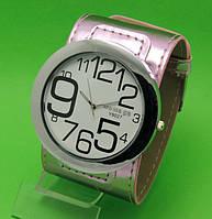 """Женские наручные часы с широким серебристым кожаным ремешком """"Таласса серебро"""""""