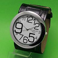 """Женские наручные часы с широким черным кожаным ремешком """"Таласса нуар"""""""
