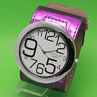 """Женские наручные часы с широким розовым кожаным ремешком """"Таласса рассвет"""""""