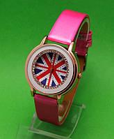 """Женские наручные часы с золотым корпусом и розовым ремешком  """"Биг-бен"""""""