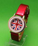 """Женские наручные часы с золотым корпусом и красным ремешком """"Глазго"""""""