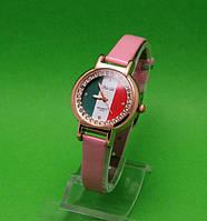 """Женские наручные часы с золотым корпусом и розовым ремешком """"Венеция"""""""