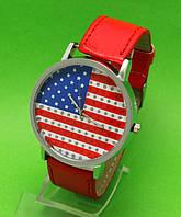 """Женские наручные часы с серебряным корпусом и красным ремешком """"Орегон"""""""
