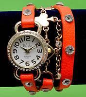 """Женские наручные часы-браслет на кожаном ремешке с крупными стразами и цепочкой """"Обурн"""", оранжевые"""