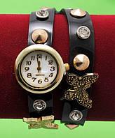 """Женские наручные часы-браслет на кожаном ремешке с заклепками и стразами """"Кинетон"""", коричневые"""