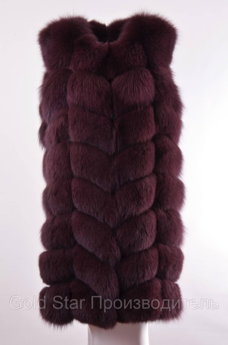 Длинная меховая жилетка из натурального  песца  длина 90 см, фото 1